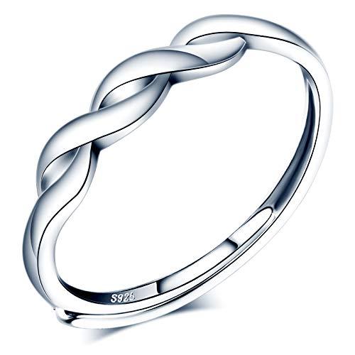 CPSLOVE Anillo de mujer niña, anillo de plata de ley 925, Anillos con símbolo de infinito simple, anillo abierto, tamaño ajustable, anillo de bodas, Circunferencia de dedo adecuada:48,5-57mm