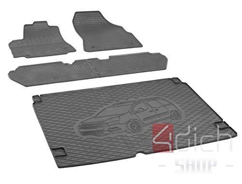 Passgenaue Kofferraumwanne und Gummifußmatten geeignet für Citroen Berlingo 5-Sitzer ab 2008 + Autoschoner MONTEUR