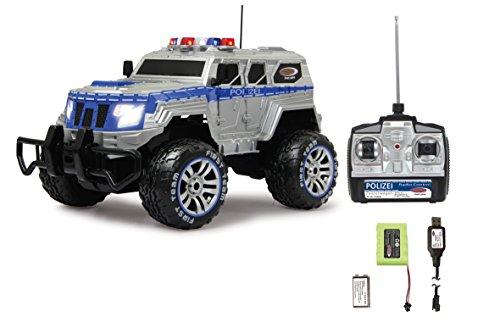 JAMARA 410032 - Polizei Panzerwagen Monstertruck 1:12 LED 27MHz - 11 LED Signallichter ausschaltbar, 2 große Frontscheinwerfer, grobe Reifen,gesperrte Hinterachse für hohe Traktion, stabile Karosserie