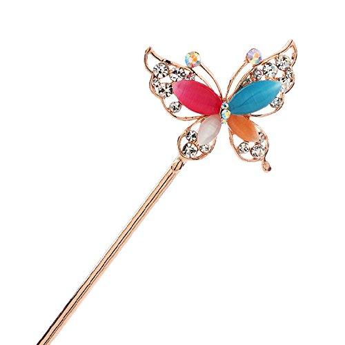 Rétro strass papillon Femmes Filles cheveux épingle à cheveux de bâton