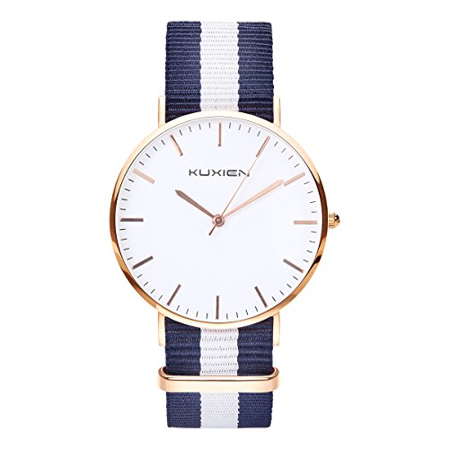Damen Uhren, Damen Armbanduhren KUXIEN Ultra Dünne Unisex Analoge Quarz Armbanduhr,Edelstahl Kleid Quarzuhr,Einfache Casual Armbanduhr für Frauen Männer mit Nylon Band