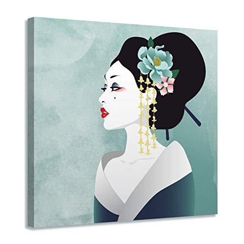 Arjazia - Cuadro japonés Geisha retrato – Decoración de pared – Lienzo zen – 60 x 60 cm y 80 x 80 cm – Impresión sobre lienzo – Decoración para salón y dormitorio (60 x 60 cm)