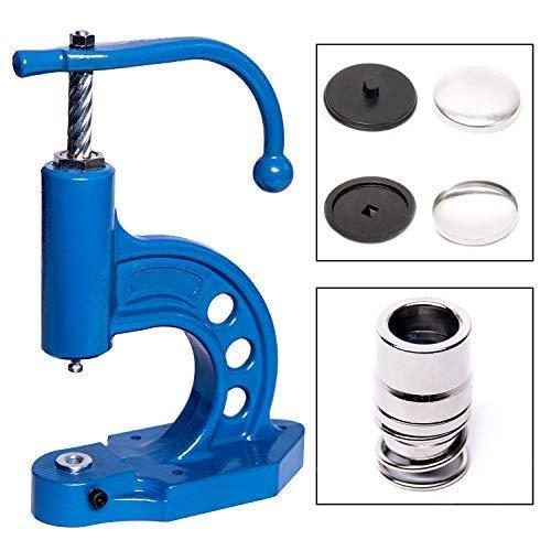 GETMORE Parts Knopfmaschinen - Set, bestehend aus Knopfpresse, Knopfwerkzeug und 100 Knopfrohlingen zum Beziehen mit Stoff - 32