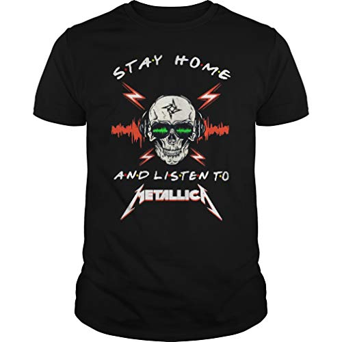 Skull Stay Home and Listen To Meta.llica Shirt - Front Print T-Shirt For Men and Women