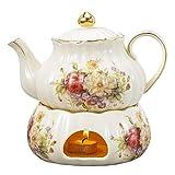 Panbado Kaffee Tee Kanne 850 ml mit Stövchen aus Elfenbein Porzellan für Teeservice Kaffeeservice...