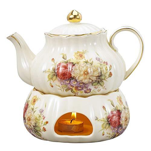 Panbado Kaffee Tee Kanne 850 ml mit Stövchen aus Elfenbein Porzellan für Teeservice Kaffeeservice Cremefarbe