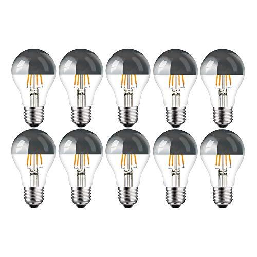 10x LED filamento de espejo plata forma de pera, 4W = 40W E27filamento AGL–Bombilla Blanco Cálido A + Retro