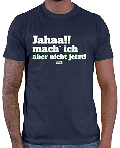 HARIZ Herren T-Shirt Jahaa Mach Ich Aber Nicht Jetzt Männer Sprüche Inkl. Geschenk Karte Navy Blau M