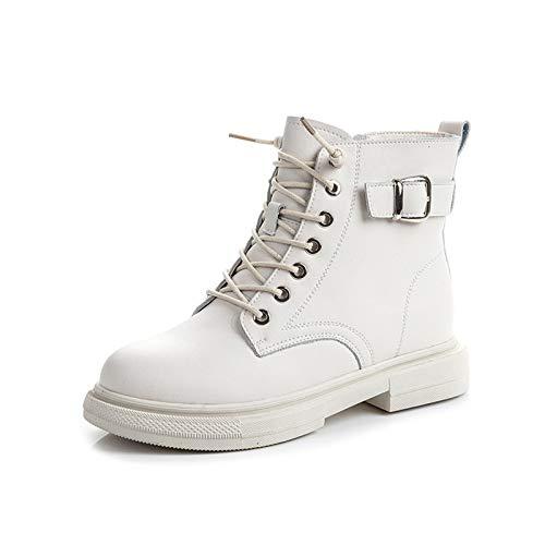 Vrouwen Lage Hak Enkellaarsjes Ronde Neus Lace-Up Side Zip Military Combat Boots Outdoor Non-Slip Laarsjes,White,36 EU