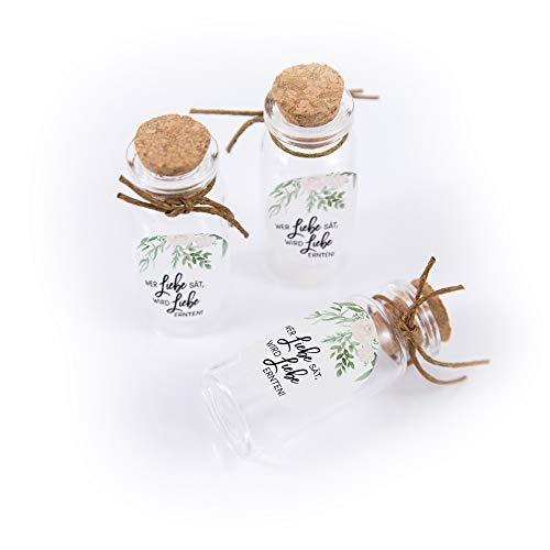 Schokoladenseite 40 Stück 20 ml Mini Glasflaschen Fläschchen mit Korken Aufkleber Greenery 175320...
