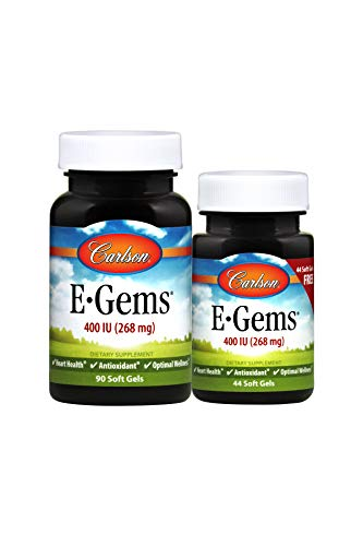 Carlson - E-Gems, 400 IU (268 mg), Natural-Source Vitamin E, Heart Health & Optimal Wellness, Antioxidant, 90+44 Soft Gels