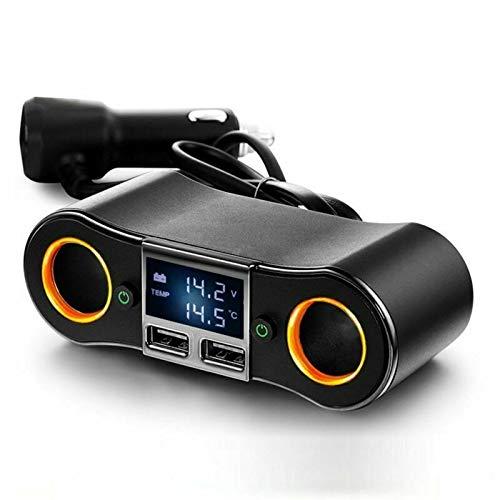 MASO Multiprise USB Rallonge Allume Cigare 12V et 24V Adaptateur Chargeur Voiture Camion Bateau avec Double Prises Allumes-Cigare, 2 Ports USB, Interrupteur, Affichage LED Voltmètre