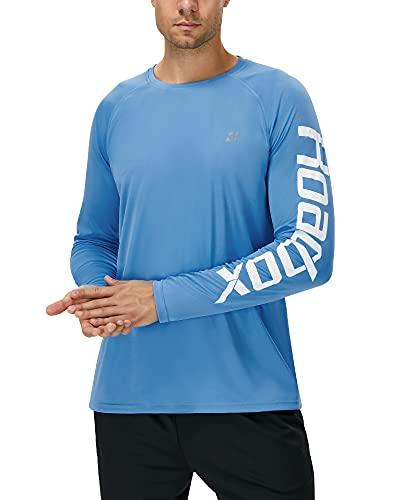 Roadbox UPF 50+ Fishing Shirts for Men Long Sleeve UV Sun Protection Rash Guard T-Shirt Quick Dry Outdoor Tops for Running, Hiking, Swimming