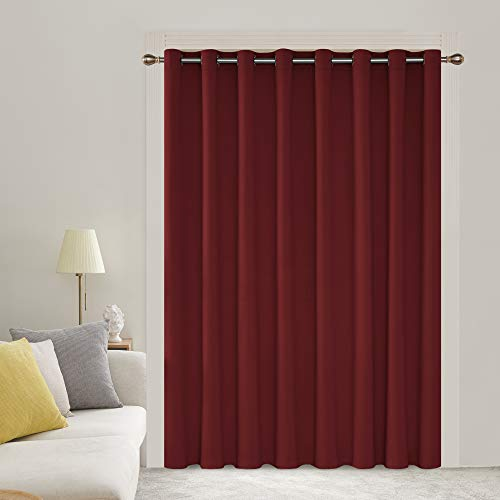Deconovo Solid Wide Width Curtain Grommet Blackout Thermal Insulated Room Darkening Curtain Patio Door Blinds 100W x 95L Inch Crimson Red 1 Panel