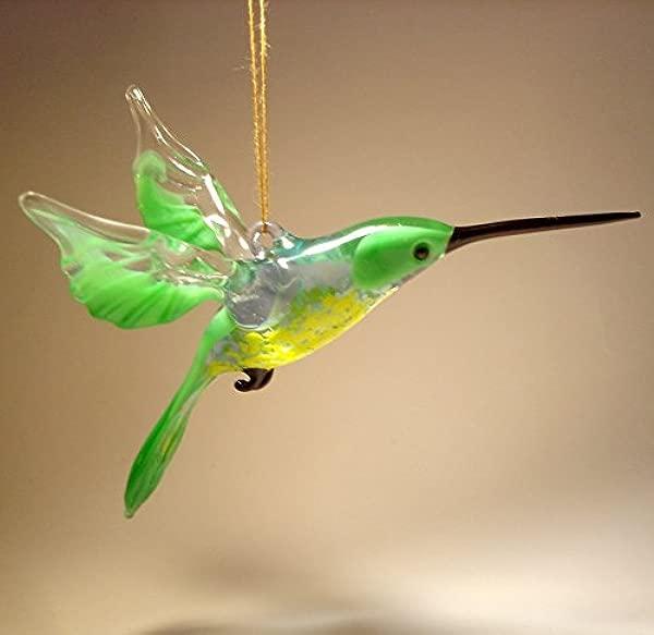 黄绿色玻璃小鸟悬挂蜂鸟公仔装饰品