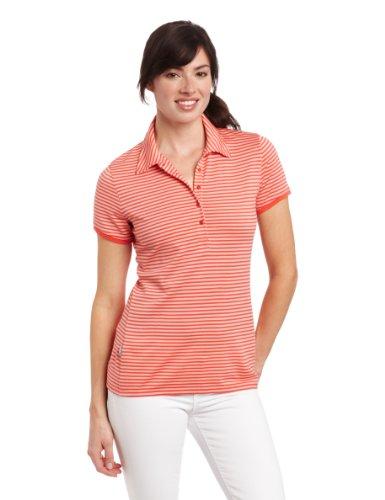 icebreaker Damen Merino Tech Stripe Polo Shirt, Damen, Azalee/Mimose, Medium