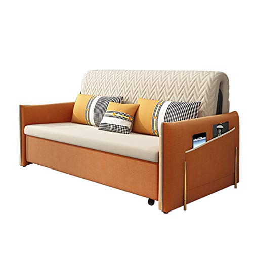 Living Room Loveseat Sofa,Pull Out Futon Couch Sofa Bed with Storage Space And Armrest Design, Furniture Decoration European Soft Suede Sleeper Sofa Convertible Bed for Apartment,Orange,1.42M