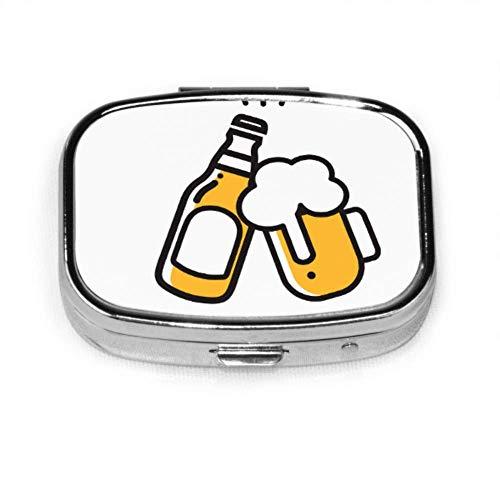 Pillen-Organizer-Etui, Bier-Symbol Dünne Linie Mobiler kleiner Pillenbehälter, quadratische Pillenbox (2 Fächer)