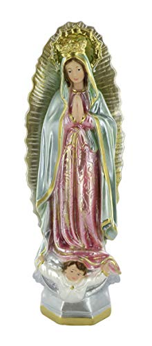 Ferrari & Arrighetti Estatua Virgen de Guadalupe en Yeso Pintada a Mano - 30 cm