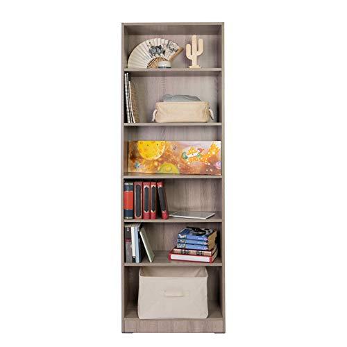 Absolute Deal 6-Tier Tall Bookcase Shelving Display Unit, grey oak, 60 x 29 x 180 cm, ADLF078