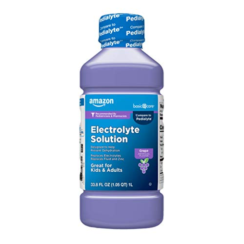 Amazon Basic Care Grape Electrolyte Solution, Replaces Electrolytes, Fluid & Zinc, Kids & Adults, 33.8 Fluid Ounces