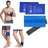 Koo-Care 2 Flexible Reusable Gel Ice Pack Wrap with Elastic Strap for Hot/Cold Therapy -11' x 5.9' - Pain Relief for Migraine, Injuries - Shoulder Arm Elbow Wrist Back Knee Ankle