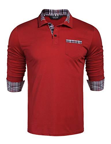 COOFANDY Herren Poloshirt Langarm Einfarbig Freizeit Polo Kragen Plaid spleißen Polohemd für Männer (Medium, Weinrot)