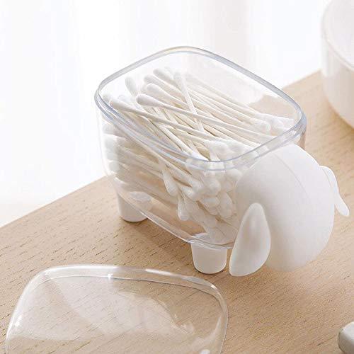 TOPofly Porte-Coton-Tige, Mouton en Forme de Cure-Dents boîte, cosmétique Coton Boîte de Rangement, Boule de Coton Distributeur Organisateur récipient avec Couvercle Blanc