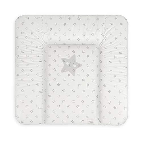 Ceba Baby Fasciatoio Materassino morbido Fasciatoio 70x50 cm, 70x75 cm, 70x85 cm Cuscino Fasciatoio Lavabile per bambine e bambini - Stelle grigie 70 x 75 cm