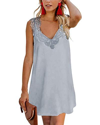 YOINS Sommerkleid Damen Kurze Elegant Strandkleid Schulterfrei Blumenmuster Sexy Kleid Ärmellos Minikleider Lace-grau S