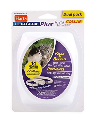 Hartz UltraGuard Plus Flea & Tick Collar for Cats and Kittens, 7 Month Flea and Tick Prevention and Protection, White, 2 Count