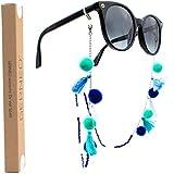 GERNEO® - 2020 Edition - Premium Brillenband & Brillenkordel Unisex für Lesebrille & Sonnenbrille - 925er Silber - Bommeln und Fähnchen in Blau und Weiß - extra lang