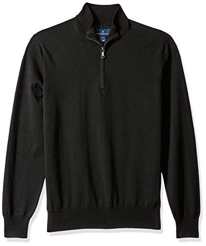 BUTTONED DOWN Men's Supima Cotton Lightweight Quarter-Zip Sweater, black, Large