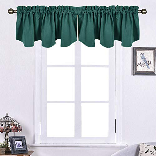 """NICETOWN Blackout Scalloped Valances for Kitchen - Privacy Window Topper Treatment Room Decoration Curtain Tiers for Living Room/Bedroom/Bathroom, 52"""" Wide by 18"""" Long, Hunter Green, 2 Pieces"""