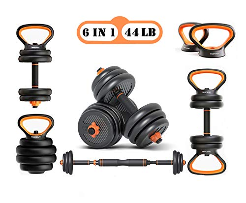 【6 in 1】 Adjustable Weights Dumbbells Barbell Kettlebell Push-up Set,Free Wight Dumb Bells Sets for Men Or Women,Adjustable Bar Bells Dumbbell Weight 20lb 25lb 30lb 44lb, Weight Up to 44lb/20kg.