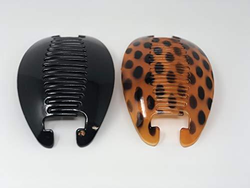 2 set Interlocking Banana Combs Hair Clip French Side Comb Holder (Brown-Black)