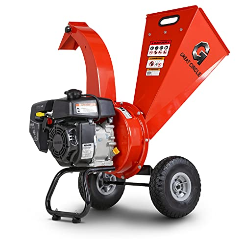 """GreatCircleUSA Mini Wood Chipper Shredder Mulcher Ultra Duty 5.5 HP 196cc Gas Powered 3"""" Inch Max Wood Capacity EPA/CARB Certified Aids in Fire Prevention/Building Firebreaks"""