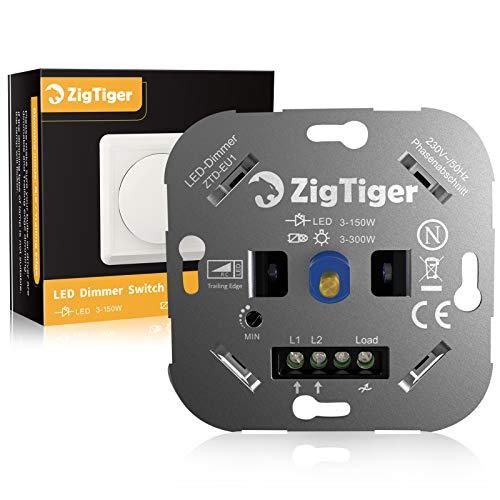 Zigtiger Interruptor Luz con Atenuador, Interruptor Regulador de Luz 2 vías, empujar interruptor para Regulable LED 3-150W, INC/HAL 3-300W, 3 años de Garantía, blanco