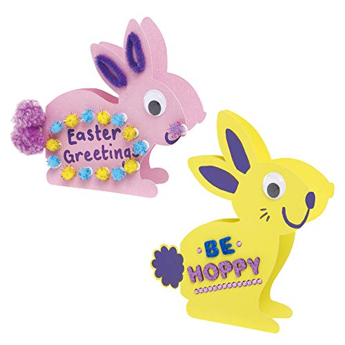 Baker Ross AX750 Easter Bunny Card Blanks - Pack of 10, Perfect for Children to Decorate, Ideal Easter Craft Project for School, Home and Craft Groups