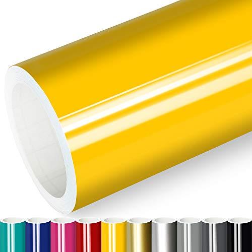 Actinium® Klebefolie 6€/m² Gelb Glanz | 5m x 0,63m selbstklebende Folie glänzend | Möbelfolie selbstklebend Küchenfolie Plotterfolie