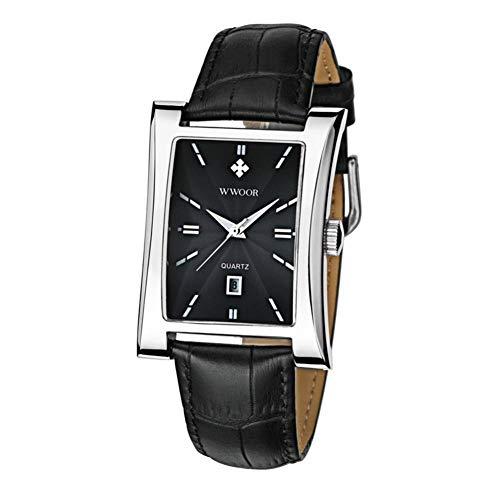 Dilwe herenhorloge, 3 kleuren kwaliteit rechthoek waterdicht kwarts horloge met instelbare slijtvaste PU lederen horlogeband
