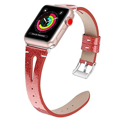 Compatible con Apple Watch 38 Mm 42 Mm Reloj con Forma De Gota Bling Cuero Genuino Iwatch Band Correa Adaptadores para Apple Iwatch 5/4/3/2/1,42mm/44mm