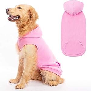 EXPAWLORER Fleece Dog Hoodies with Pocket, Cold Weather Spring Vest Sweatshirt with O-Ring, Light Pink L
