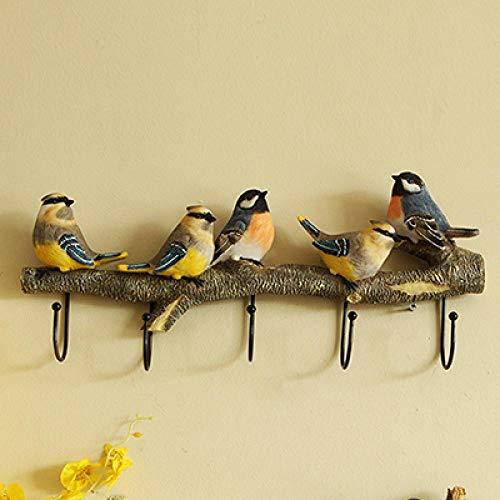 Perchero de Pared |Colgador de pájaros en Rama de árbol con 4  |para AbrigosSombrerosLlavesToallasPercha de Almacenamiento de Ropa @ 5