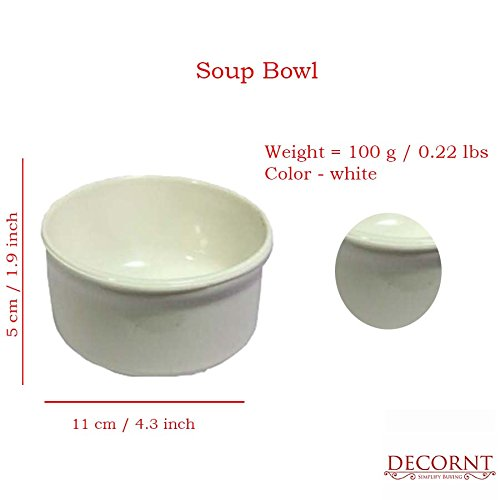 Microwave Safe Unbreakable Food Grade Round Melamine Set of 4 Soup Bowls with Spoons-White