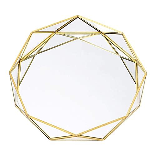 RENXIANSEN Bandeja octogonal de oro de la joyería de la encimera Organizador del perfume de la torta de la bandeja del postre del estilo simple para el aparador,