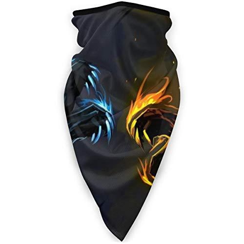 BJAMAJ Masque de Sport Cool Et Feu Dragon Extérieur Visage Bouche Masque Coupe-Vent Masque de Ski Masque Bouclier Écharpe Bandana Hommes Femme