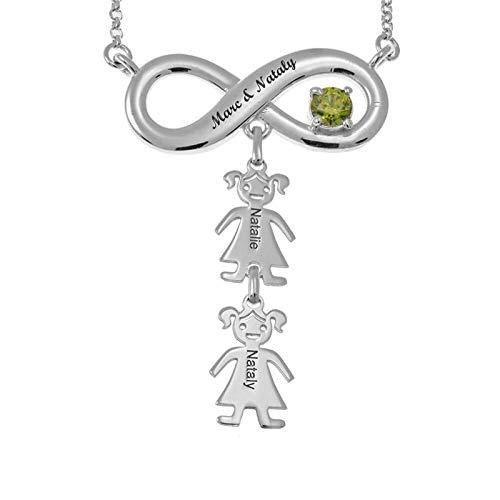 Collar personalizado Collar familiar Collar con nombre Infinito y colgante para niños Collar de mamá(Plata 16)