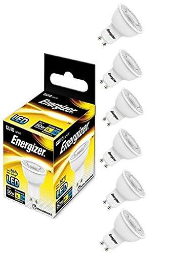 6 x Energizer GU10 LED Ampoule Lumière 350lm Point 5W=50W équivalent Blanc Chaud 3000k 36°