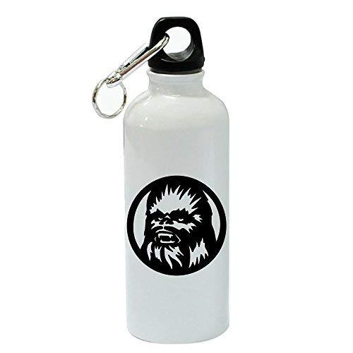 GFGKKGJFD Chewbacca Silhouette - Botella de Agua (Aluminio, 600 ML), Color Blanco